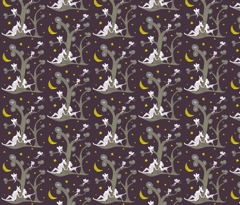 Midsummer nights dream silhouettes fabric by lucybaribeau on Spoonflower - custom fabric