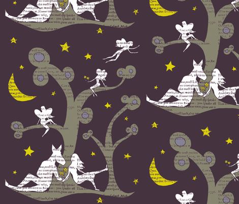 Midsummer nights dream silhouettes fabric by fantazya on Spoonflower - custom fabric