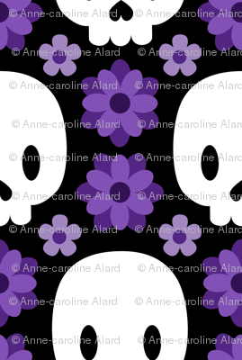 Skulls and purple flowers