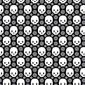 Skulls and grey flowers
