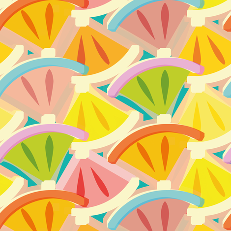 Stylized slices of citrus  fabric by cassiopee on Spoonflower - custom fabric