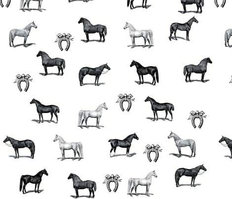 Horses and Shoes fabric by cottagerosestudio on Spoonflower - custom fabric