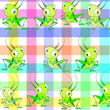 RAINBOW GINGHAM CRICKETS fabric by bluevelvet on Spoonflower - custom fabric
