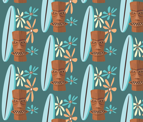 TIKI_SURFER_GIRL3 fabric by garwooddesigns on Spoonflower - custom fabric
