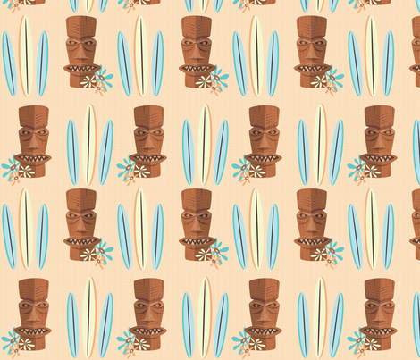 TIKI_SURFER_GIRL4 fabric by garwooddesigns on Spoonflower - custom fabric