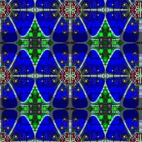 Stained glass blue flower batik 1