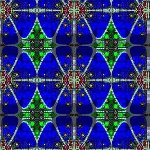 Stained glass blue flower batik 1