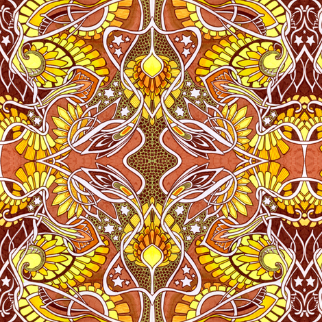The Magic Sunshine Sunflower fabric by edsel2084 on Spoonflower - custom fabric