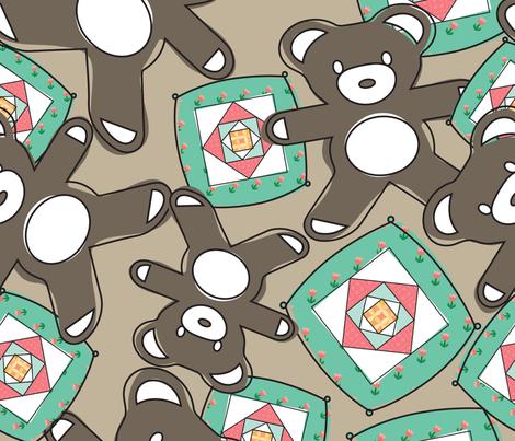 bear cushion green fabric by msuh on Spoonflower - custom fabric