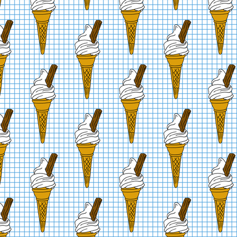 Icecream Cone on Graph Paper fabric by lovelyjubbly on Spoonflower - custom fabric
