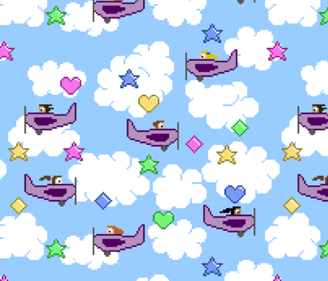 Flying game fabric by spacefem on Spoonflower - custom fabric