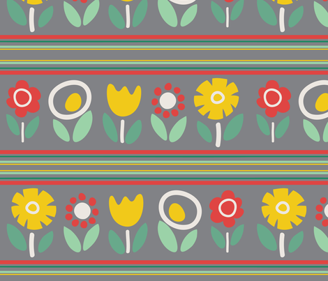 mod_flowers_in_a_row fabric by pragya_k on Spoonflower - custom fabric