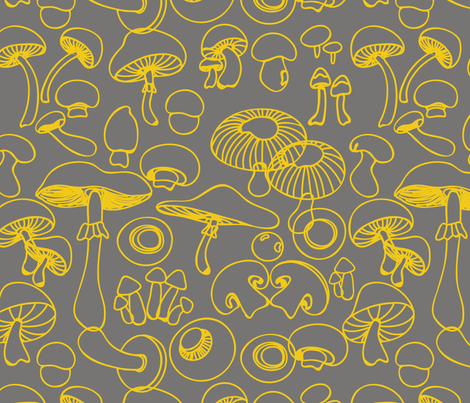 yellow_mushrooms fabric by pragya_k on Spoonflower - custom fabric