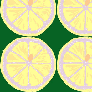 lemon slices on green