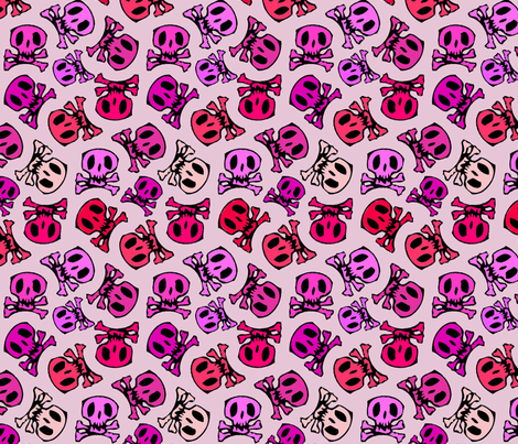 pink skulls regular fabric by sydama on Spoonflower - custom fabric