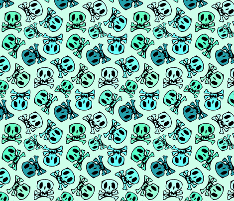 skulls on mint regular fabric by susiprint on Spoonflower - custom fabric