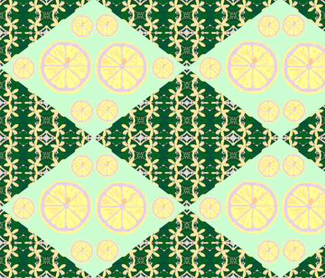 Lemons double tart double vision - lime fabric by walkwithmagistudio on Spoonflower - custom fabric