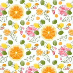Citrus Slices and Leaves