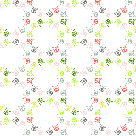skull flower on white fabric by sydama on Spoonflower - custom fabric