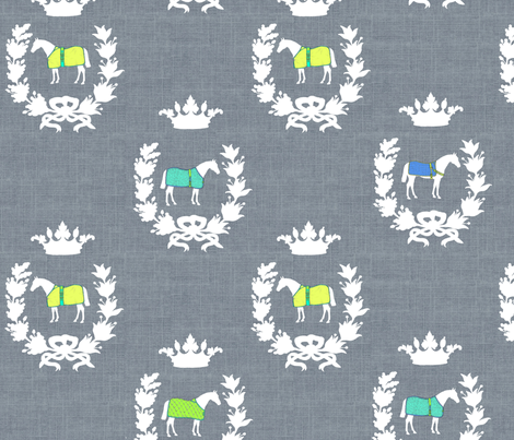 Charcoal Linen Crests fabric by ragan on Spoonflower - custom fabric