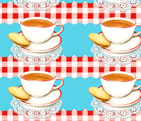 Cup of Tea and gingham fabric by patricia_shea on Spoonflower - custom fabric