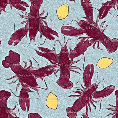 Lobstas N Lemons on Blue