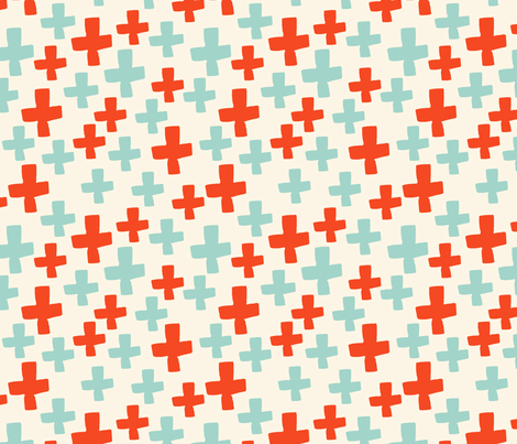 Swiss Cross - Cream/Cambridge Blue/Vermillion fabric by andrea_lauren on Spoonflower - custom fabric