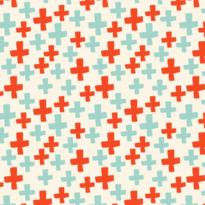 Swiss Cross - Cream/Cambridge Blue/Vermillion
