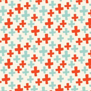 Swiss Cross - Cream/Cambridge Blue/Vermillion
