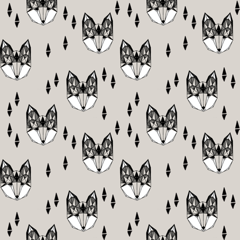 Geometric Fox Head - Light Grey ( Smaller Version) by Andrea Lauren fabric by andrea_lauren on Spoonflower - custom fabric
