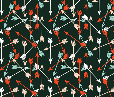 Arrows Scattered - Rifle Green/Vermillion/Blush/Pale Turquoise/White by Andrea Lauren fabric by andrea_lauren on Spoonflower - custom fabric