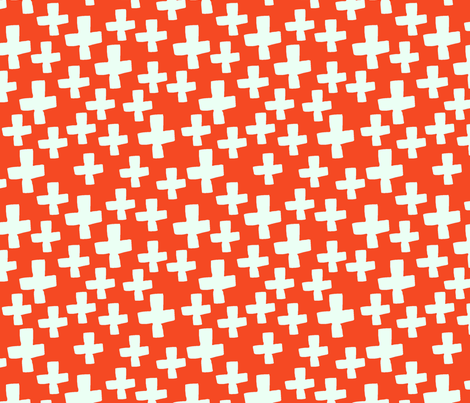 Swiss Cross - Vermillion/Cream fabric by andrea_lauren on Spoonflower - custom fabric