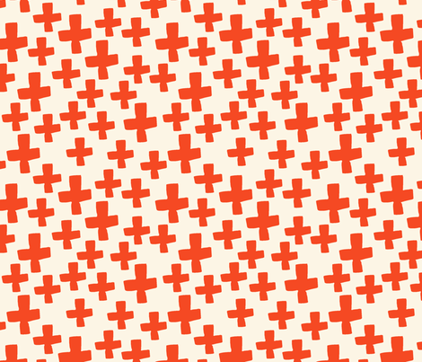 Swiss Cross - Cream/Vermillion fabric by andrea_lauren on Spoonflower - custom fabric