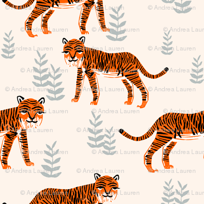 Safari Tiger - Cadmium Orange/Slate Grey/Champagne by Andrea Lauren