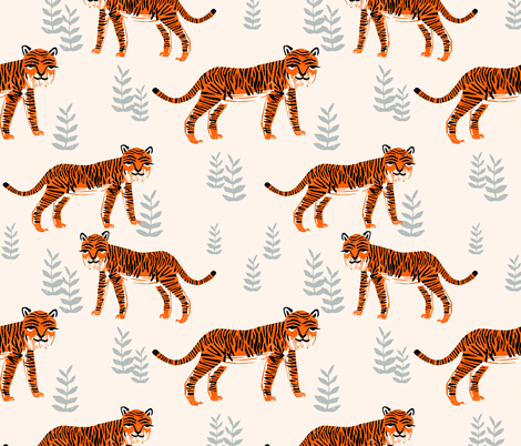 Safari Tiger - Cadmium Orange/Slate Grey/Champagne by Andrea Lauren fabric by andrea_lauren on Spoonflower - custom fabric