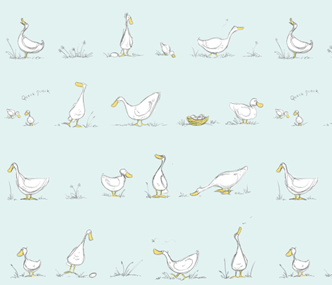 All my ducks in a row fabric by mulberry_tree on Spoonflower - custom fabric