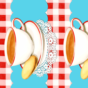 Tea Cup and Gingham border