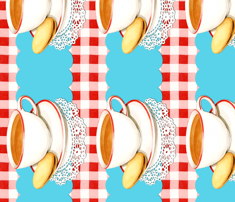 Tea Cup and Gingham border fabric by patricia_shea on Spoonflower - custom fabric
