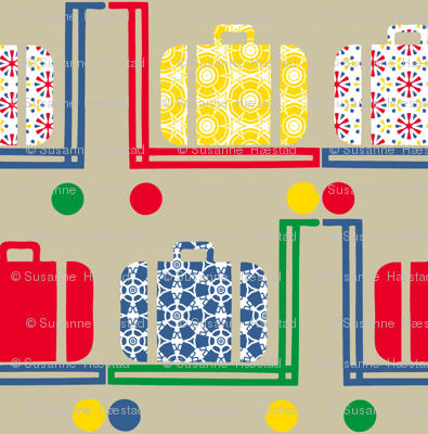 suitcases and pushcarts on beige