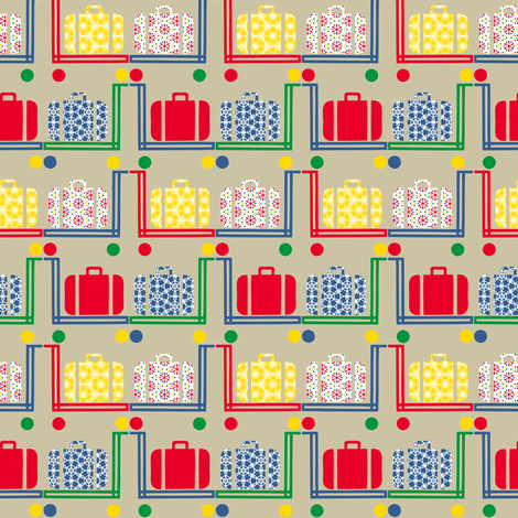 suitcases and pushcarts on beige fabric by susiprint on Spoonflower - custom fabric