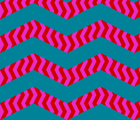 mad chevrons - pink on teal fabric by weavingmajor on Spoonflower - custom fabric
