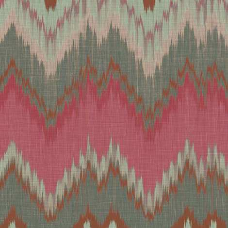 Raspberry and Teal Ikat Chevron fabric by willowlanetextiles on Spoonflower - custom fabric