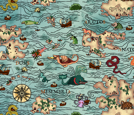 Map Monsters - Ancient Blue fabric by thirdhalfstudios on Spoonflower - custom fabric