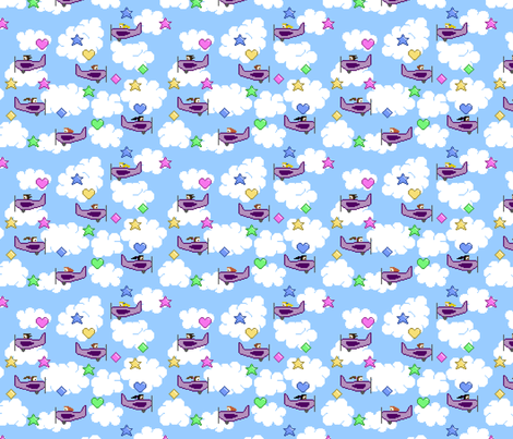 Flying game small fabric by spacefem on Spoonflower - custom fabric