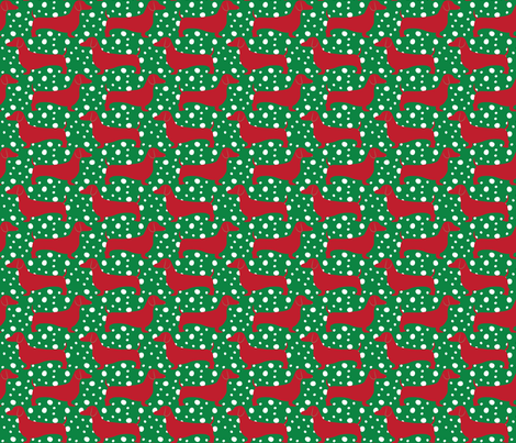 Christmas Dachshunds (Red & Green) fabric by robyriker on Spoonflower - custom fabric