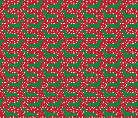 Christmas Dachshunds (Green & Red) fabric by robyriker on Spoonflower - custom fabric