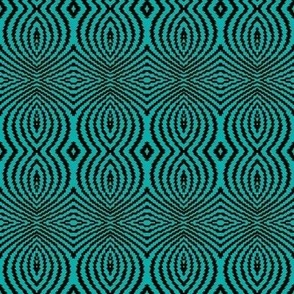 batik neon circles in teal green