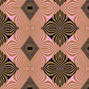 gold stripe pink flower batik