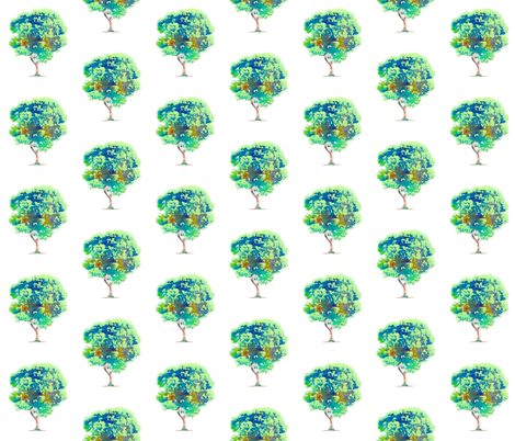 Watercolor tree fabric by mezzime on Spoonflower - custom fabric