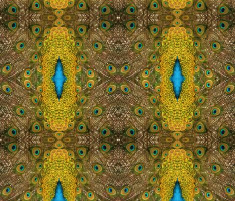 Peacock Golden Glory fabric by walkwithmagistudio on Spoonflower - custom fabric
